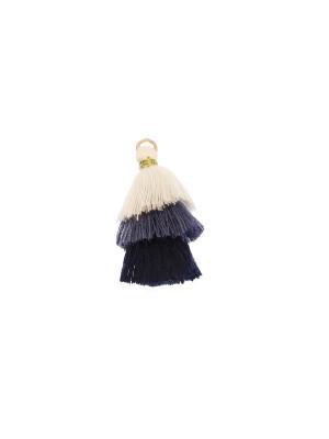 Nappina in cotone, lunghezza 35 mm., colore BIANCO - AVIO - BLU