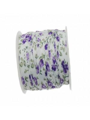 Nastro piatto, a sbieco piegato, in poliestere , alto 10 mm., colore FIORATO SU BASE BIANCA