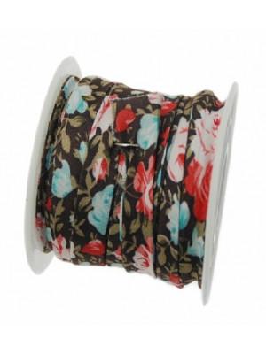 Nastro piatto, a sbieco piegato, in poliestere , alto 10 mm., colore FIORATO SU BASE MARRONE