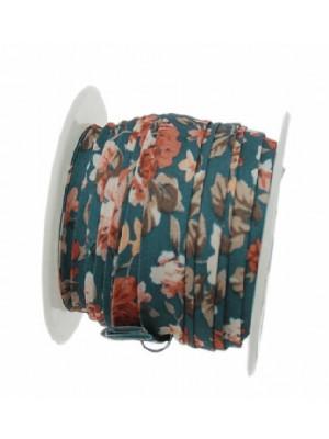 Nastro piatto, a sbieco piegato, in poliestere , alto 10 mm., colore FIORATO SU BASE AVIO