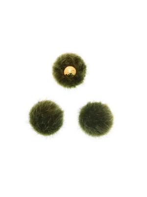 Pon Pon, in lapin sintetico, tondo, diametro 16 mm., colore VERDE OLIVA SCURO