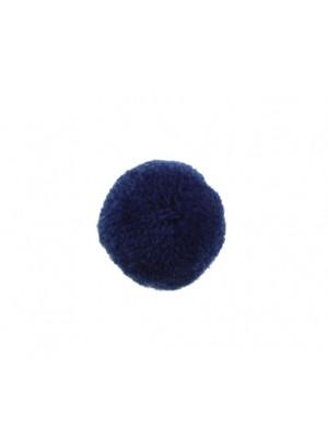 Pon Pon, in poliestere, tondo, diametro 28 mm., colore BLU ELETTRICO