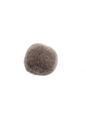 Pon Pon, in poliestere, tondo, diametro 28 mm., colore GRIGIO