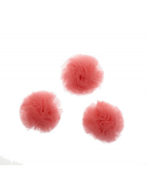 Pon Pon, in tulle, tondo, diametro 30 mm., colore INDIAN PINK