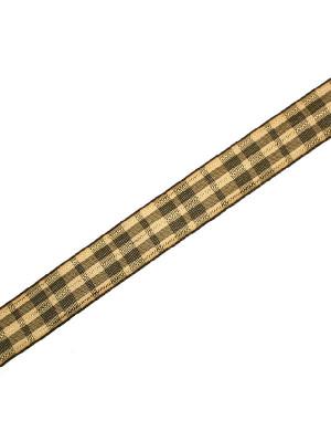 Nastro sintetico scozzese, alto 15 mm., colore VERDEBEIGEORO