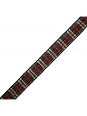 Nastro sintetico scozzese, alto 15 mm., colore NEROROSSOBIANCOBLUGIALLO