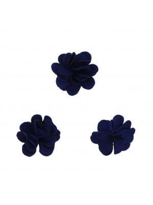 Nappina a fiore in tessuto, da incollo, 17 mm, colore BLU SCURO