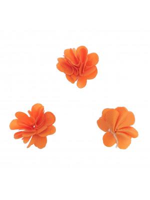 Nappina a fiore in tessuto, da incollo, 17 mm, colore ARANCIONE