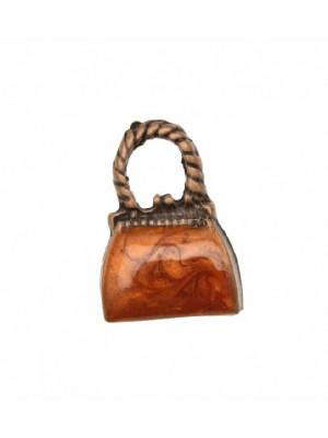 Ciondolo smaltato a forma di borsetta liscia con smalto perlato 16x22 mm. Base rame antico