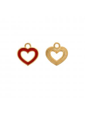 Ciondolo a forma di cuore, forato al centro, 14x15 mm., base Oro Lucido, colore smalto Rosso