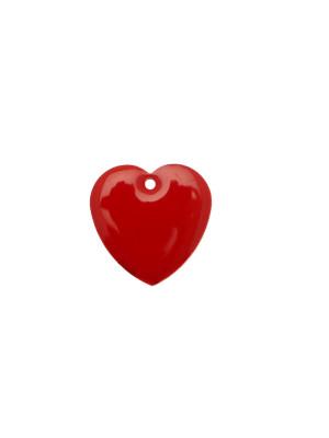 Ciondolo a Cuore, 15x15 mm., smaltato Rosso