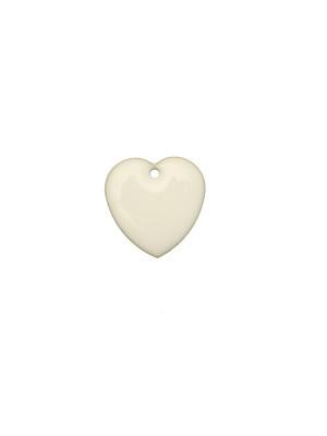 Ciondolo a Cuore, 15x15 mm., smaltato Bianco