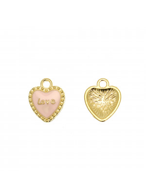 """Ciondolo a forma di cuore con scritta """"LOVE"""", 13x16 mm., colore Oro Lucido, colore smalto Rosa"""