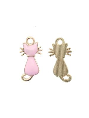 Ciondolo a forma di gatto, 12x22 mm., colore base Oro Lucido, colore smalto Rosa