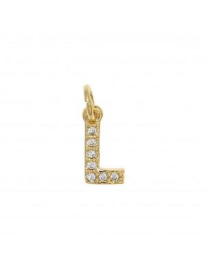 """Ciondolo a forma di lettera """"L"""", 9x4 mm., strass colore Crsytal, base colore Oro Lucido"""