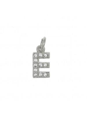"""Ciondolo a forma di lettera """"E"""", 9x5 mm., strass colore Crystal, base colore Argento Rodio"""