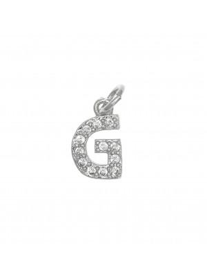 """Ciondolo a forma di lettera """"G"""", 9x5 mm., strass colore Crystal, base colore Argento Rodio"""