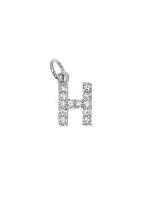 """Ciondolo a forma di lettera """"H"""", 9x5 mm., strass colore Crystal, base colore Argento Rodio"""