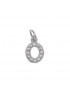 """Ciondolo a forma di lettera """"O"""", 9x5 mm., strass colore Crystal, base colore Argento Rodio"""