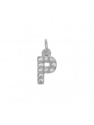 """Ciondolo a forma di lettera """"P"""", 9x5 mm., strass colore Crystal, base colore Argento Rodio"""