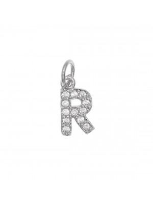 """Ciondolo a forma di lettera """"R"""", 9x5 mm., strass colore Crystal, base colore Argento Rodio"""