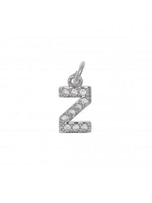 """Ciondolo a forma di lettera """"Z"""", 9x5 mm., strass colore Crystal, base colore Argento Rodio"""