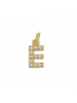 """Ciondolo a forma di lettera """"E"""", 9x5 mm., strass colore Crsytal, base colore Oro Lucido"""