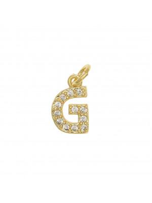 """Ciondolo a forma di lettera """"G"""", 9x5 mm., strass colore Crsytal, base colore Oro Lucido"""
