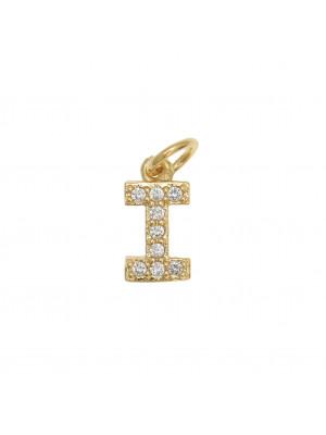 """Ciondolo a forma di lettera """"I"""", 9x5 mm., strass colore Crsytal, base colore Oro Lucido"""