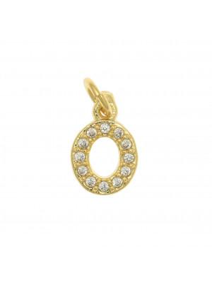 """Ciondolo a forma di lettera """"O"""", 9x5 mm., strass colore Crsytal, base colore Oro Lucido"""