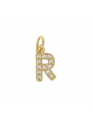 """Ciondolo a forma di lettera """"R"""", 9x5 mm., strass colore Crsytal, base colore Oro Lucido"""