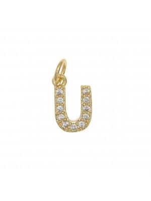 """Ciondolo a forma di lettera """"U"""", 9x5 mm., strass colore Crsytal, base colore Oro Lucido"""