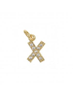 """Ciondolo a forma di lettera """"X"""", 9x5 mm., strass colore Crsytal, base colore Oro Lucido"""