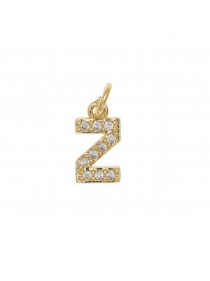 """Ciondolo a forma di lettera """"Z"""", 9x5 mm., strass colore Crsytal, base colore Oro Lucido"""