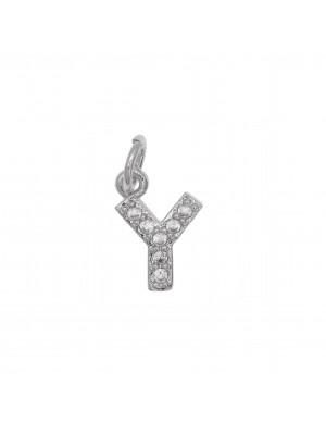 """Ciondolo a forma di lettera """"Y"""", 9x6 mm., strass colore Crystal, base colore Argento Rodio"""
