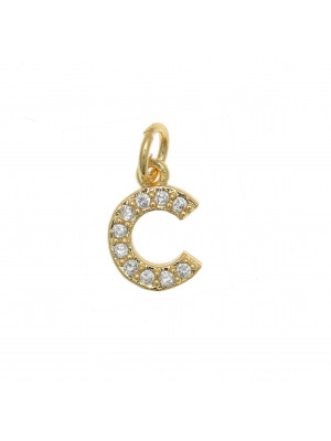 """Ciondolo a forma di lettera """"C"""", 9x6 mm., strass colore Crsytal, base colore Oro Lucido"""