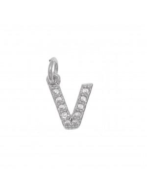 """Ciondolo a forma di lettera """"V"""", 9x7 mm., strass colore Crystal, base colore Argento Rodio"""