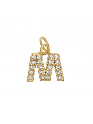 """Ciondolo a forma di lettera """"M"""", 9x9 mm., strass colore Crsytal, base colore Oro Lucido"""