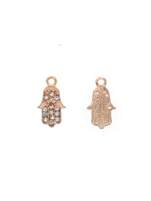 Ciondolo a forma di mano di Fatima con strass color Crystal, 9x16 mm., colore base Oro Rosa