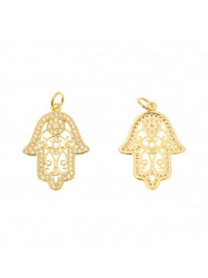 Ciondolo a forma di mano di Fatima con strass color Crystal, centro filigranato, 17x23 mm., colore base Oro Lucido