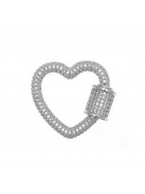 Ciondolo a forma di cuore, con chiusura a vite, con strass Crystal, 25x22 mm., base in metallo colore Argento Rodio