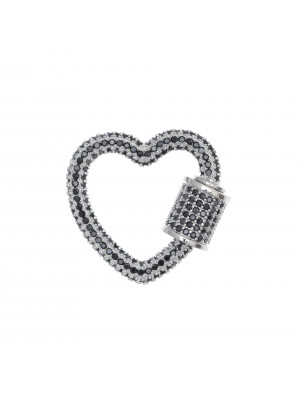 Ciondolo a forma di cuore, con chiusura a vite, con strass Nero, 25x22 mm., base in metallo colore Argento Rodio