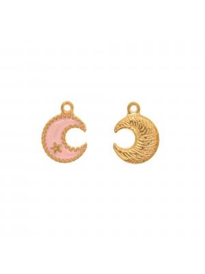 Ciondolo a forma di Luna+stellina, 13x16 mm., base in metallo Oro Lucido, colore smalto Rosa