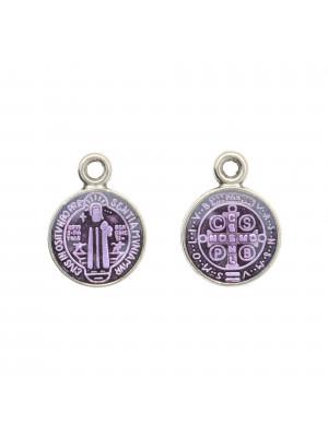 Ciondolo a forma di Medaglia con Santo, 10x13 mm., base Argento Anticato, colore smalto Viola Chiaro