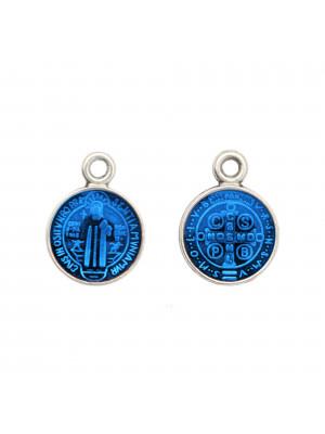 Ciondolo a forma di Medaglia con Santo, 10x13 mm., base Argento Anticato, colore smalto Blu