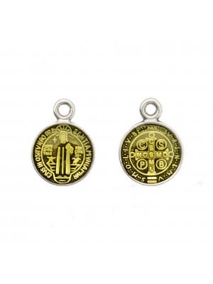 Ciondolo a forma di Medaglia con Santo, 10x13 mm., base Argento Anticato, colore smalto Verde Oliva