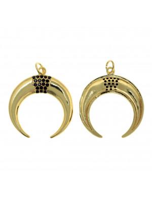Ciondolo, a forma di mezzaluna, con strass color Nero, 27x25mm., base in metallo color Oro Lucido