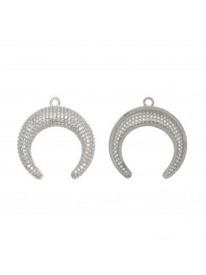 Ciondolo a forma di mezzaluna, con strass Crystal, 29x30 mm., base in metallo colore Argento Rodio