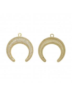 Ciondolo a forma di mezzaluna, con strass Crystal, 29x30 mm., base in metallo colore Oro Lucido