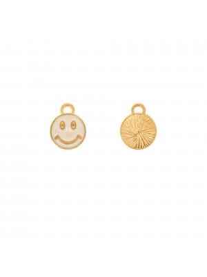 Ciondolo a forma di tondo con SMILE, 10x12 mm., colore Oro Lucido, colore smalto Bianco